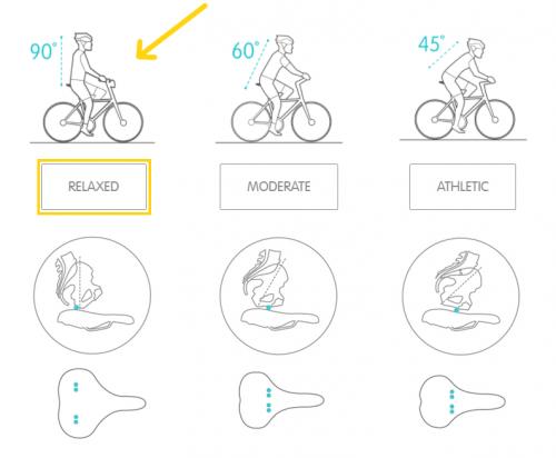 posição a andar de bicicleta