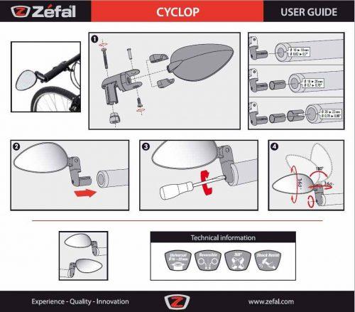 Espejo Universal para Manillar Bicicleta Zefal Cyclop 5
